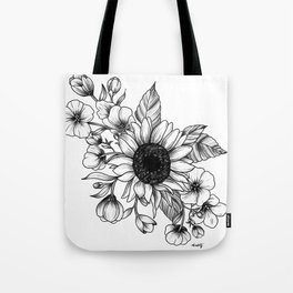 Bouquet of Flowers with Sunflower / Fall floral lineart Tote Bag