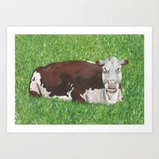 Lineback Cow Painting Art Print