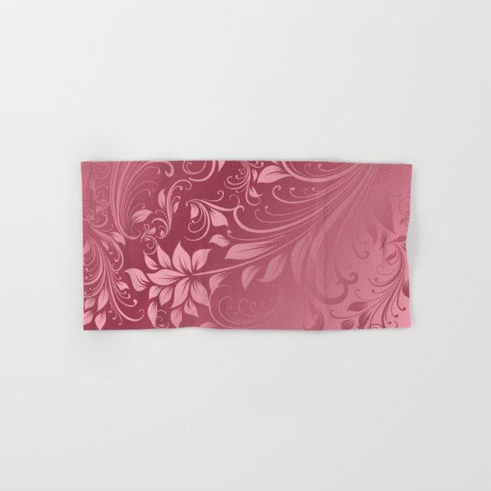 Rose quartz swirls leaves Hand & Bath Towel