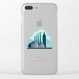 Kansas City in the Clouds - Blue Clear iPhone Case