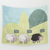 rebel Wall Tapestries featuring Rebel Sheep by sundressed