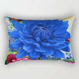 CONTEMPORARY BLUE DAHLIA GARDEN ART Rectangular Pillow