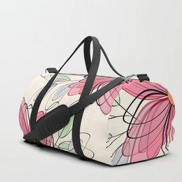 Large pink flowers. Duffle Bag