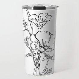 California poppy botanical minimalist line art Travel Mug