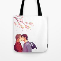cherry blossoms Tote Bags featuring Cherry Blossoms by brightfallenstars
