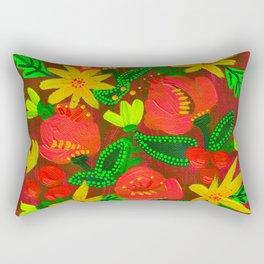 Neon Magenta Blooms Rectangular Pillow