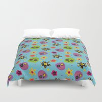 sugar skulls Duvet Covers featuring Sugar Skulls by grrrenadine