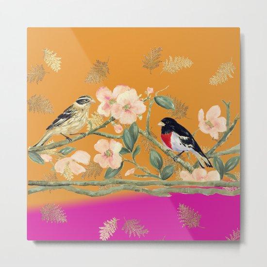Birds Tango Mango Metal Print