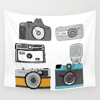 cameras Wall Tapestries featuring Cameras by Josh Ross