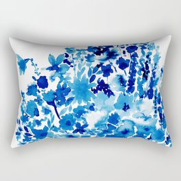 Blue Floral Rectangular Pillow