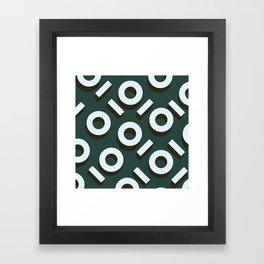 Teal Keyhole Pattern I Framed Art Print