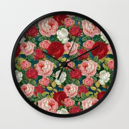 Colorful Roses Pattern Wall Clock