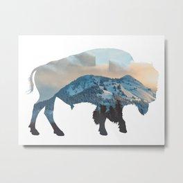 Bison Mountain Metal Print