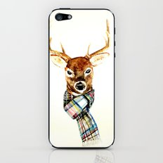Deer buck with winter scarf - watercolor iPhone & iPod Skin