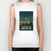 i want to believe Biker Tanks featuring I want to believe by mangulica illustrations