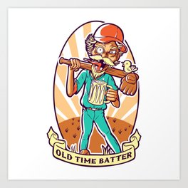 Drunkard Baseball PLAYER - Cinnabar RED Art Print