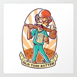 Drunkard Baseball PLAYER - Cinnabar RED Art Print
