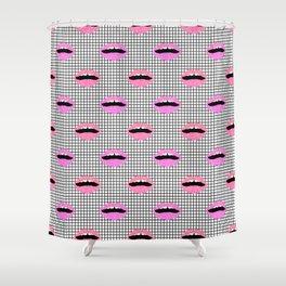 Lips - hot pink lips with grid modern abstract minimal pop art hipster urban brooklyn nashville Shower Curtain