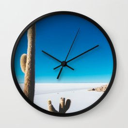 Cactus on Isla Incahuasi, Salt Flats, Bolivia Wall Clock