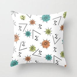 Mid Century Modern Sputnik Starburst Planets 1 Throw Pillow