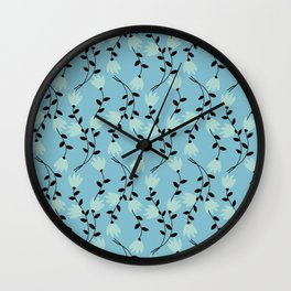 Blue Vines Modern Vintage Illustration Wall Clock