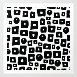 Geometrical hand painted black white squares circles Art Print