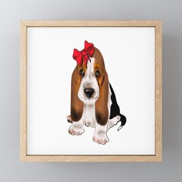 Cute puppy girl with red bow .Dog lovers gift idea  Framed Mini Art Print