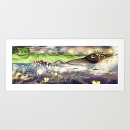 Bed from a River [Digital Figure Illustration] Green Grass and Skyline version Art Print