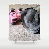 gamer Shower Curtains featuring Gamer Bunny by Natasha Alexandra Englehardt