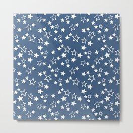 White stars pattern on blue  Metal Print