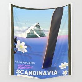 Scandinavian Snowboarding poster Wall Tapestry