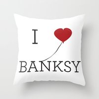 banksy Throw Pillows featuring I heart Banksy by Simple Symbol