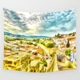 Obidos, small and authentic fortified town in Portugal Wall Tapestry