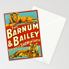 Barnum and Bailey Great Show on Earth - Lion and Tiger Vintage Circus Poster Stationery Cards