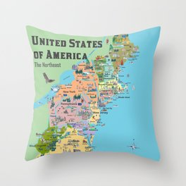 USA Northeast States Colorful Travel Map VA WV MD PA NY MS CT RI VE DE NJ With Highlights And Favori Throw Pillow