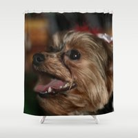 yorkie Shower Curtains featuring Christmas Grin by IowaShots