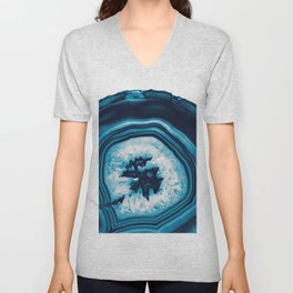 Blue White Agate #2 #gem #decor #art #society6 Unisex V-Neck