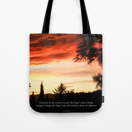 Serenity Prayer Sunset Red Clouds Tote Bag