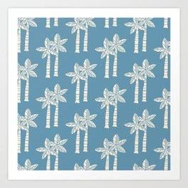 Palm Tree Pattern Blue 22 Art Print