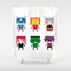 Pixel Avengers Shower Curtain