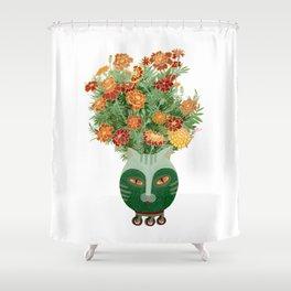 Marigolds in cat face vase  Shower Curtain