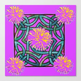 Purple & Aqua Fuchsia Floral Abstract  Art Nouveau Canvas Print