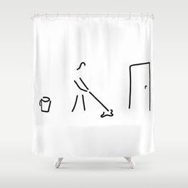 cleaning lady building cleaner Shower Curtain