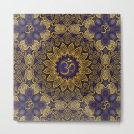 OM sign on Gold and Amethyst  Kaleidoscope Mandala Metal Print