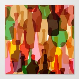 Colored silhouettes of wine bottles.  Canvas Print
