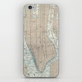 Vintage Map of New York City (1893) iPhone Skin