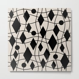 Mid Century Modern Geometric Abstract 141 Black and Linen White Metal Print
