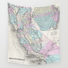 Vintage Map of California (1855) Wall Tapestry
