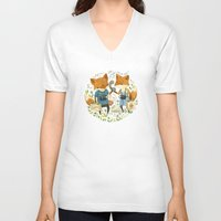 card V-neck T-shirts featuring Fox Friends by Teagan White