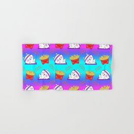 Cute sweet adorable Kawaii fitness bunnies exercising on a yoga mat, yummy happy funny French fries colorful rainbow blue pink pattern design. Workout and comfort food. Hand & Bath Towel